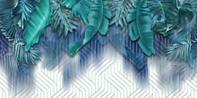 Wallpaper Blue Palm Leaves. Luxury.