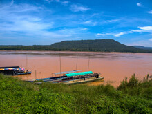 The Boat In Mekong River(Song Si River) View At Khong Chiam In Ubon Ratchathani, Thailand