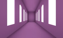 Lilac Corridor With Large Windows And Bright Lights. Backdrop Design For Product Promotion. 3d Rendering