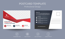 Red And Black Geometric Business Post Card Or EDDM Card Template Design