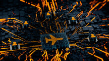 Flight Technology Concept With Airplane Symbol On A Microchip. Orange Neon Data Flows Between Users And The CPU Across A Futuristic Motherboard. 3D Render.