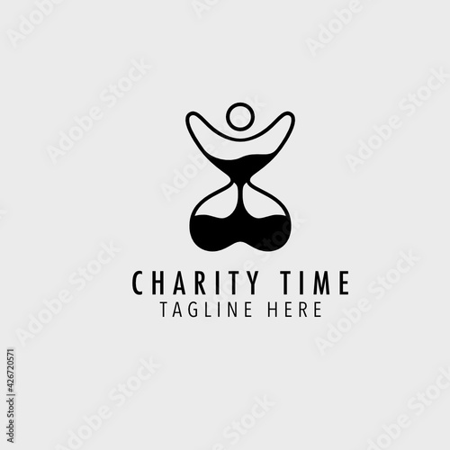 Fototapeta Charity hourglass people hug line outline logo design inspiration