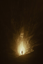Man In Cave Tunnel, Fantasy Landscape