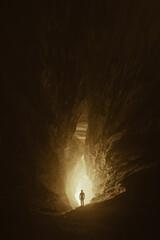 man in cave tunnel, fantasy landscape