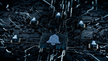 Alert Technology Concept With Bell Symbol On A Microchip. White Neon Data Flows Between Users And The CPU Across A Futuristic Motherboard. 3D Render.