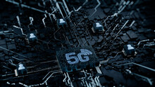 Wireless Technology Concept With 5G Symbol On A Microchip. White Neon Data Flows Between Users And The CPU Across A Futuristic Motherboard. 3D Render.
