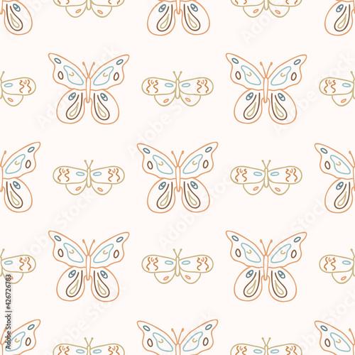Obraz na plátně Seamless background swallow tail butterfly gender neutral pattern