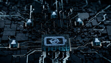 Energy Technology Concept With Battery Symbol On A Microchip. White Neon Data Flows Between Users And The CPU Across A Futuristic Motherboard. 3D Render.