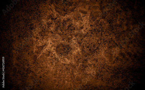 Fototapeta Old wall texture cement black brown background abstract dark color design are light with white gradient background. obraz