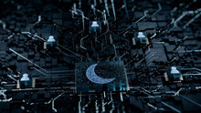 Night Mode Technology Concept With Moon Symbol On A Microchip. White Neon Data Flows Between Users And The CPU Across A Futuristic Motherboard. 3D Render.