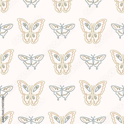 Fotografie, Obraz Seamless background swallow tail butterfly gender neutral pattern