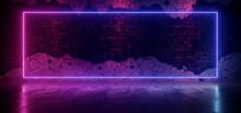 Neon Glowing Laser Light Frame Rectangle Sign Fluorescent Tube Retro Rough Brick Wall Cement Concrete Glossy Floor Dark Club Underground 3D Rendering