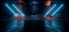 Rough Dark Neon Sci Fi Futuristic Lasers Glowing Tube Lights Blue Orange On Rough Brick Wall Realistic Cement Concrete Asphalt Glossy Floor Dark Ambient 3D Rendering