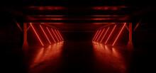 Dark Laser Neon Red Tunnel Corridor Line Lights Glowing On Warehouse Concrete Asphalt Hangar Underground Showroom Metal Structures Empty Background 3D Rendering