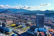 Batumi, Georgia - April 7, 2021: Afavit Tower, University, Drone View