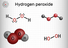 Hydrogen Peroxide, Perhydrol, H2O2 Molecule. It Is Peroxide, Oxidizing Agent With Disinfectant, Antiviral, Anti-bacterial Activities. Sheet Of Paper In A Cage.
