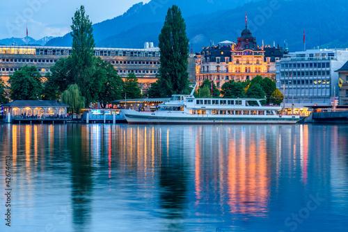 Fototapeta Embankment of Reuss at night, Lucerne, Switzerland