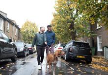 Gay Male Couple Walking Dog On Leash On Wet Autumn City Street