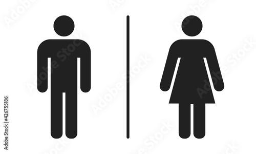 Fototapeta Men and women toilet sign icon. Symbol of gender for restroom vector. Silhouette male and female illustration. obraz