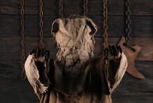 Burlap Scarecrow With Black Halloween Background