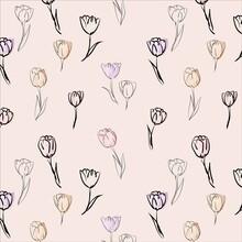 Tulips Line Art Seamless Surface Pattern Design