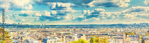 Obraz na plátne Panorama city of Paris from Montmartre