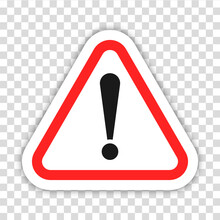 Danger Icon, Caution Symbol, Exclamation Sign. Isolated Exclam Risk Triangle On Transparent Background. Colored Warning Alert Concept Design. Vector Illustration To PNG.