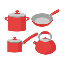 A Set Of Red Dishes From Four Items For Design In The Field Of Catering