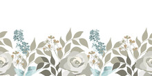 Vector Floral Seamless Pattern, Border. Roses, Small Flowers, Twigs, Leaves. Floral Elements Isolated On A White Background.
