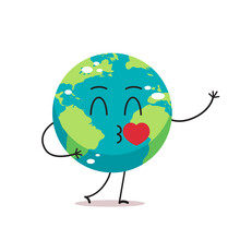 Cute Earth Character Blows Kiss Cartoon Mascot Globe Personage With Heart Showing Facial Emotion Save Planet Concept Isolated