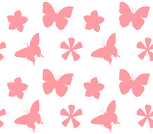 Vector Seamless Pattern Of Pink Hand Drawn  Butter Fly And Flowers Silhouette Isolated On White Background
