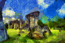 A Landscape Of Large Boulders In The Middle Of The Forest Like Stonehenge. Illustrations Creates An Impressionist Style Of Painting.