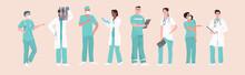 Hospital Medical Staff Team Doctors Nurses Surgeons In Uniform Medicine Healthcare Concept Horizontal Full Length