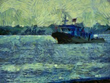 A Towed Boat Sailing On The River Illustrations Creates An Impressionist Style Of Painting.