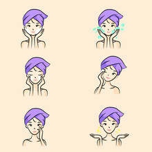 Vector Illustration Of Beautiful Woman Using Facial Skin Care Every Step Of The Way