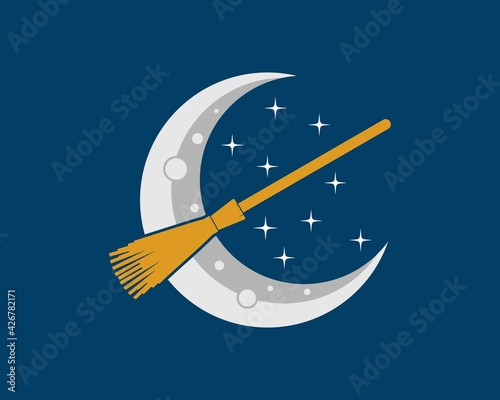 Obraz na plátně Crescent moon with flying magic broom inside