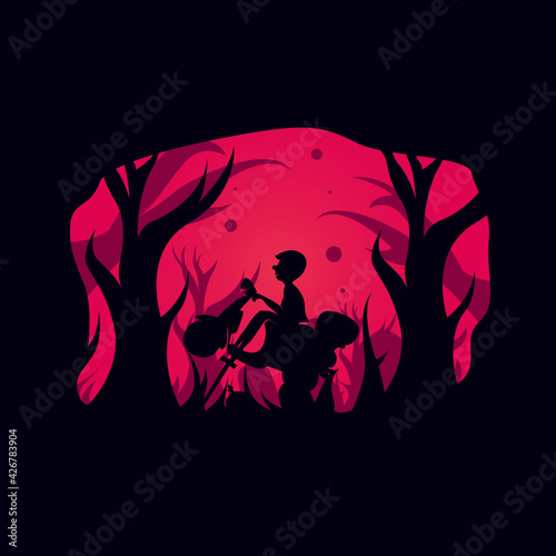 vector silhouette about work. in purple and pink. for materials in the manufacture of banner designs, posters etc. Fototapete