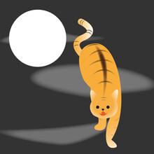掛け軸風デザインの虎猫  Tiger Cat In Asian Hanging Scroll Art