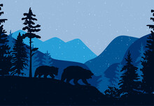 There Are Two Bears In The Forest. Landscape With Mountains And Forest. Vector Graphics. EPS Format