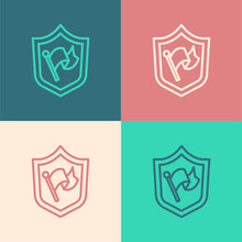 Pop Art Line Shield With Flag Icon Isolated On Color Background. Victory, Winning And Conquer Adversity Concept. Vector