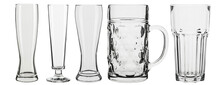 Set Of Empty Beer Glasses Isolated On White Background.