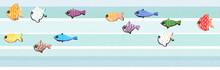 Set Di Pesci Multicolore Ad Acquerello Su Sfondo A Righe Celeste