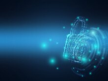 Cyber Security. Network Technology Key Lock With Wire Low Poly Background