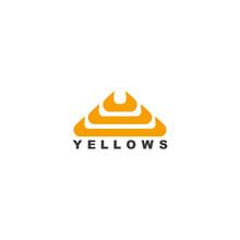Yellow Curves Object Beautiful Elegant Shape Logo Vector