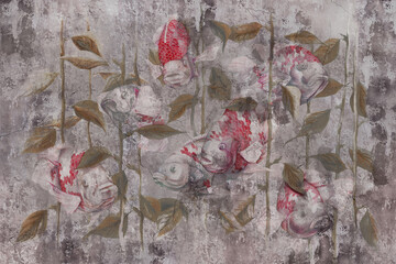 Watercolor fish on grey concrete grunge wall. Great choise for wallpaper, photo wallpaper, mural, card, postcard. Design for modern and loft interiors.