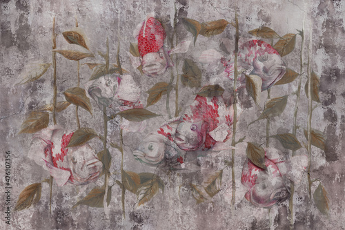 Watercolor fish on grey concrete grunge wall. Great choise for wallpaper, photo wallpaper, mural, card, postcard. Design for modern and loft interiors. - fototapety na wymiar