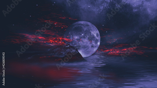 Fotografie, Obraz Futuristic fantasy night landscape with abstract landscape and island, moonlight, radiance, moon, neon