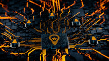 Innovation Technology Concept With Lightbulb Symbol On A Microchip. Orange Neon Data Flows Between Users And The CPU Across A Futuristic Motherboard. 3D Render.