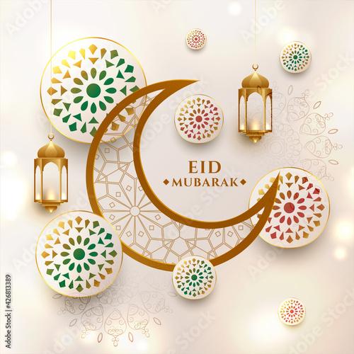 crescent moon eid mubarak festival greeting design