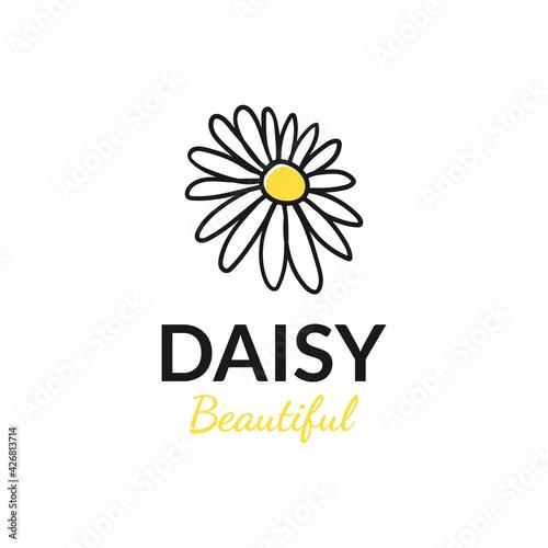 Canvas Print vector design hand drawn daisy logo. logo template